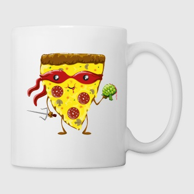 Ninja Pizza eats turtle - Mug blanc