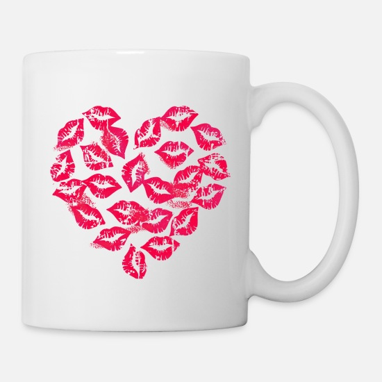Saint Valentin Mugs et récipients - Kissing Lips Heart - Mug blanc
