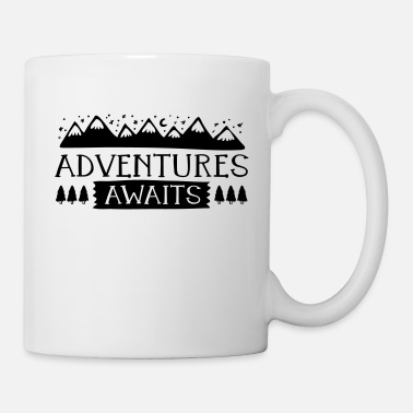 Story Adventures awaits adventure saying mountains mountains - Mug