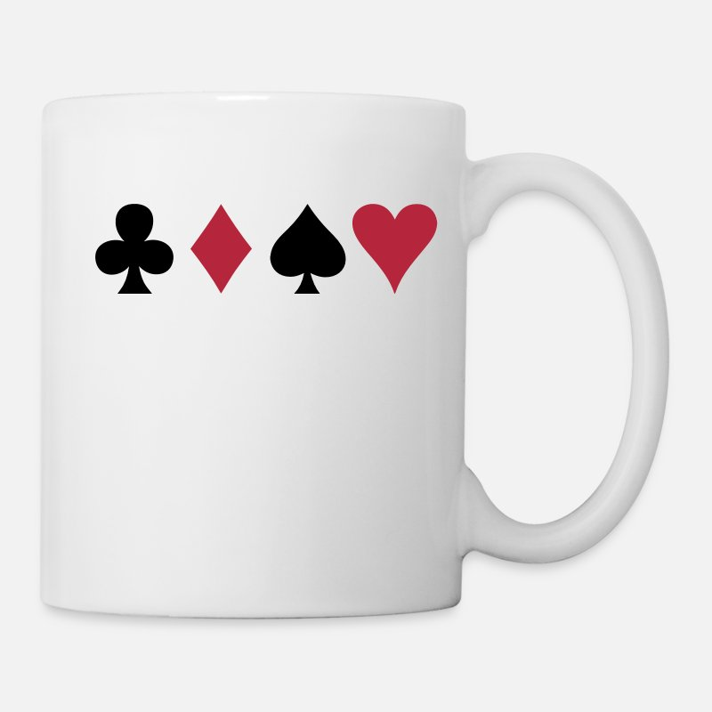 Poker Mugs & Drinkware - ALL FOUR poker cards card suits in a row - Mug white