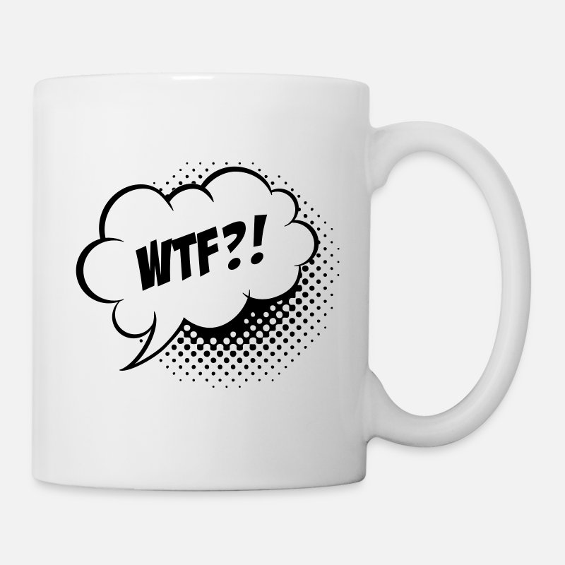 Comic Mugs & Drinkware - Funny What the Fuck WTF vintage comic book speech balloon slogan humour for geek bachelor t shirts - Mug white