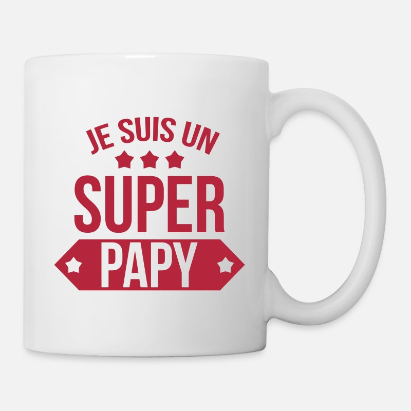 Birthday Mugs & Drinkware - Super Papy / Grand-Père / Papi / Grand Pere - Mug white