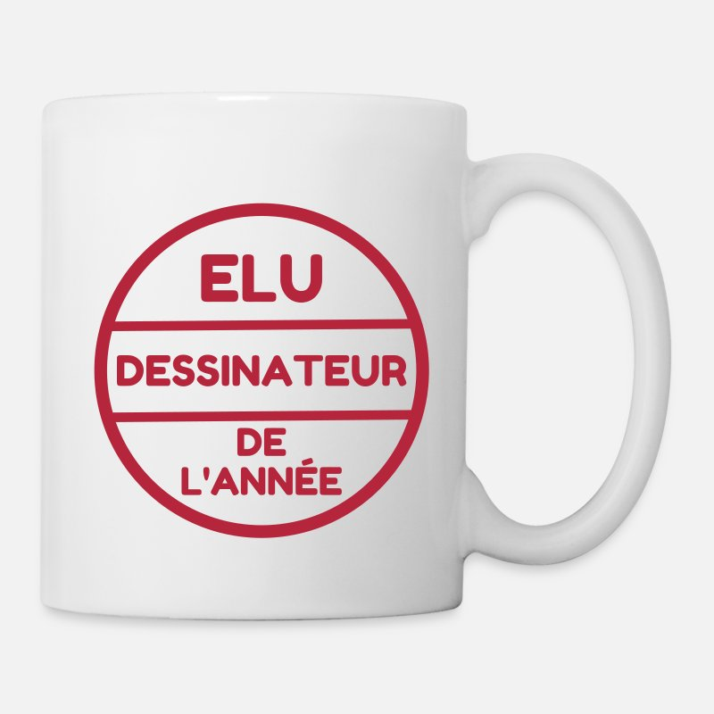 Caricature Mugs et gourdes - Dessin / Dessinateur / Drawing / Drawer - Mug blanc