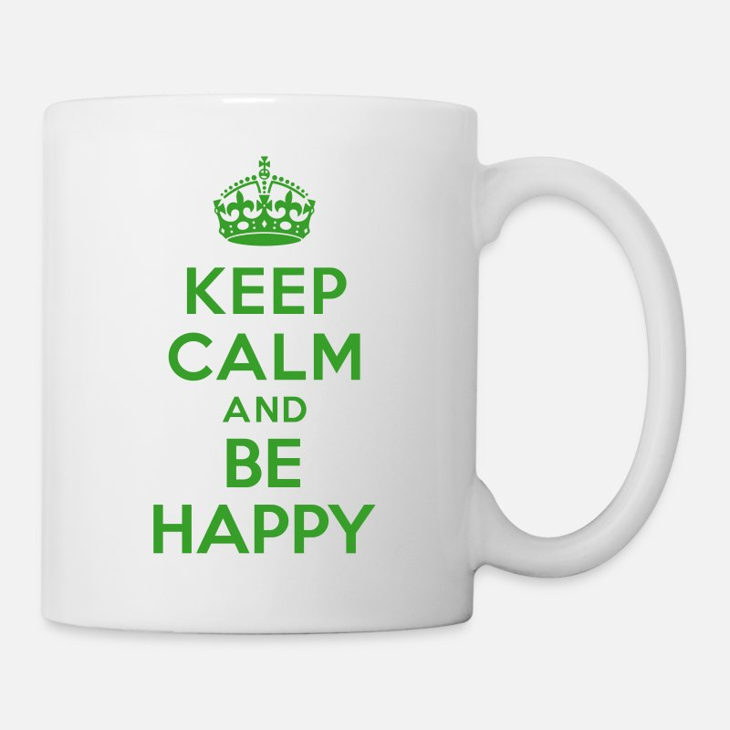 Keep Calm Mugs et gourdes - Keep calm and be happy - Mug blanc