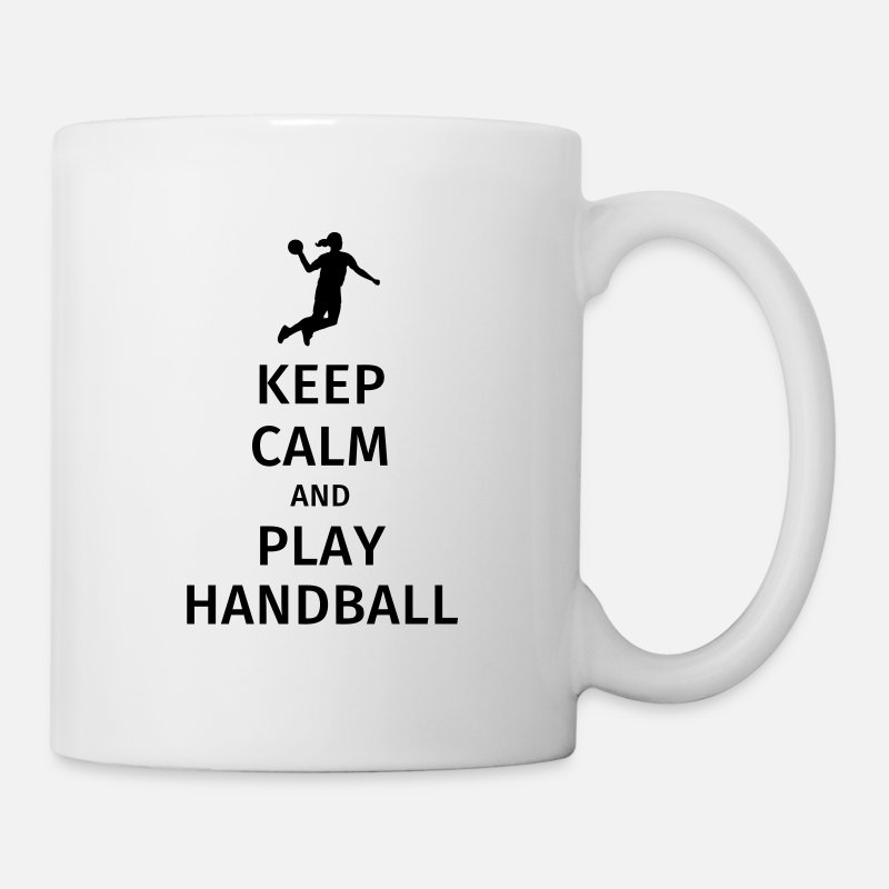 Teamsport Mukit ja tarvikkeet - keep calm and play handball - Muki valkoinen