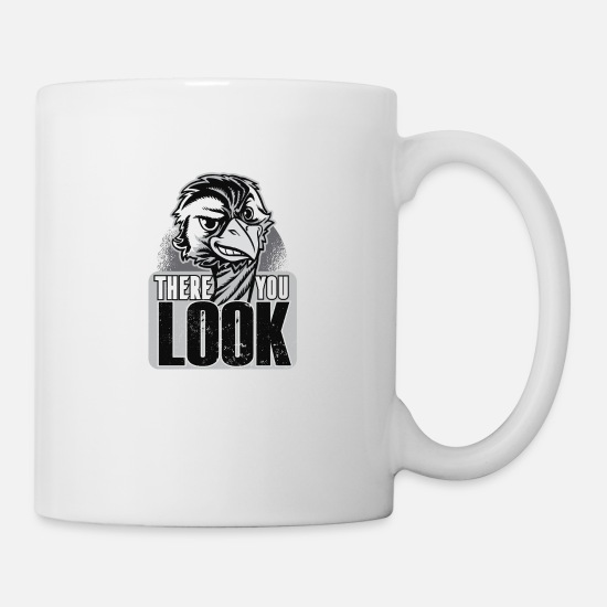 Ostrich Mugs & Drinkware - Bird ostrich head with a cool saying there you look - Mug white
