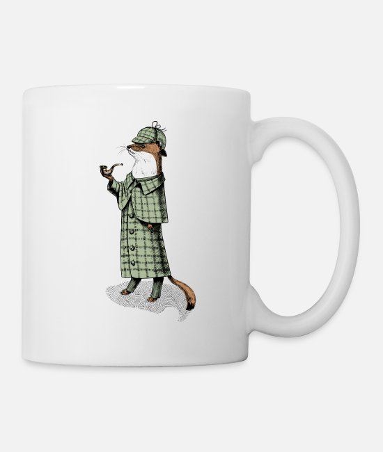 Satyr Mugs & Drinkware - Stoat Detective - Mug white
