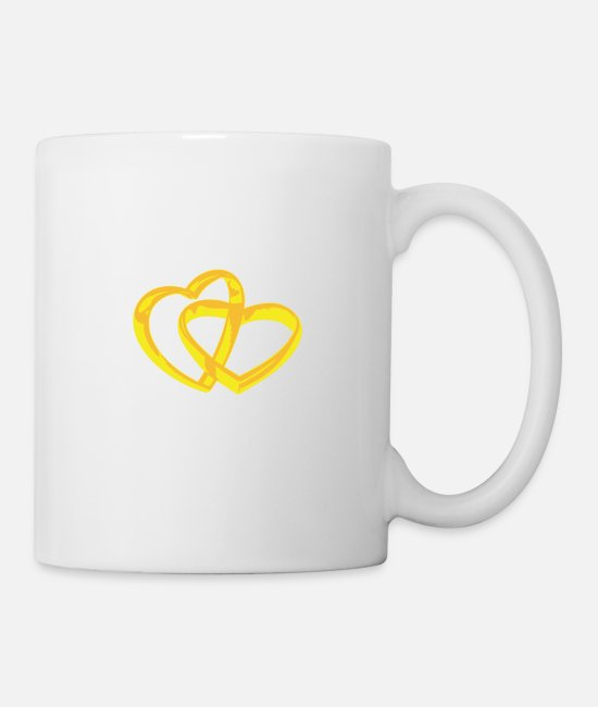 Heart Mugs & Drinkware - RING HEART, WEDDING - Mug white