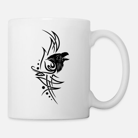 Tribal Tattoo Mugs & Drinkware - Tribal, tattoo with raven head - Mug white