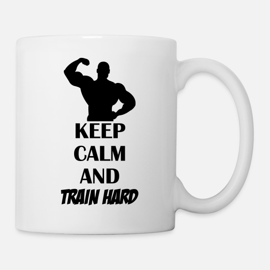Arts Martiaux Mugs et récipients - keep_calm_train_hard_001 - Mug blanc