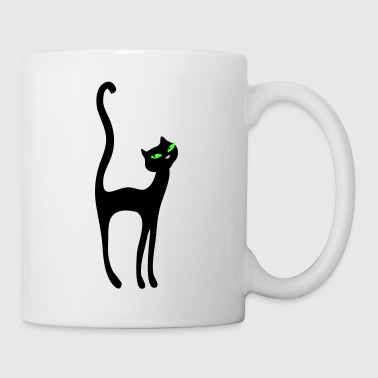 Black Retro Kittenish Cat by Patjila - Mug