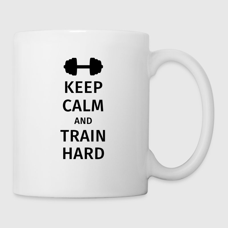 keep calm and train hard - Taza