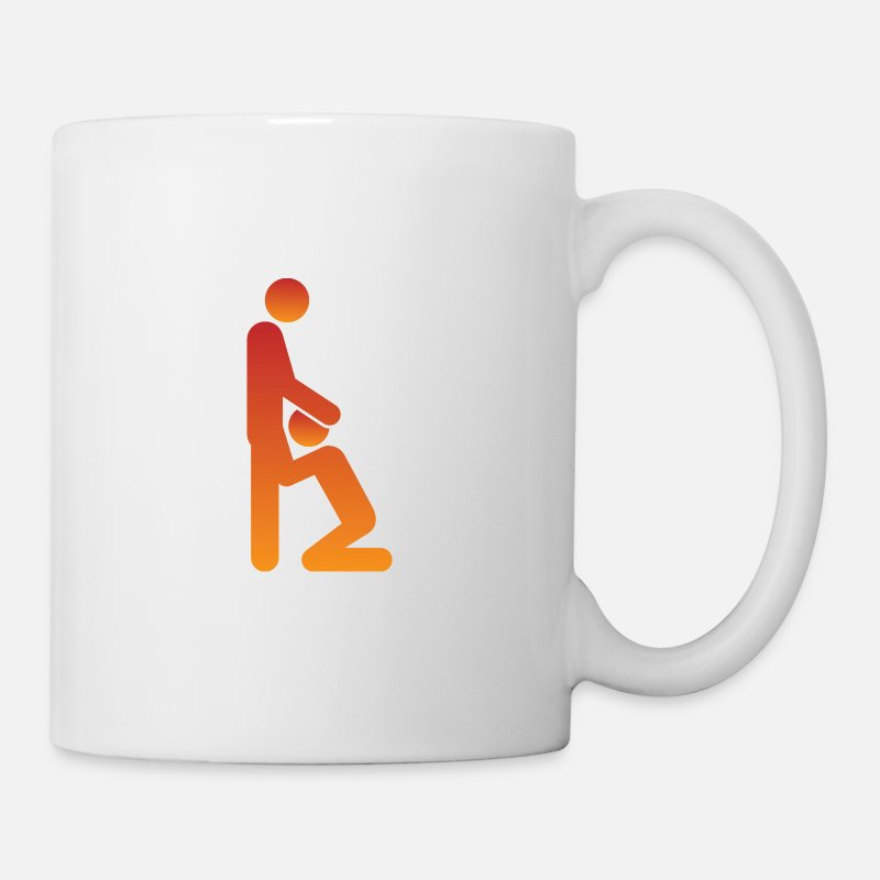 Stick Mugs & Drinkware - Woman gives man a blowjob - Mug white