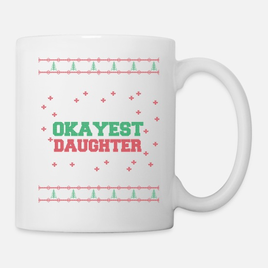 Pattern Mugs & Drinkware - Best daughter ugly Christmas sweater poison - Mug white