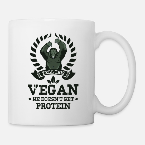 Fast Food Tazze & Accessori - TELL THIS VEGAN HE DOESN`T GET PROTEIN gym - Tazza bianco