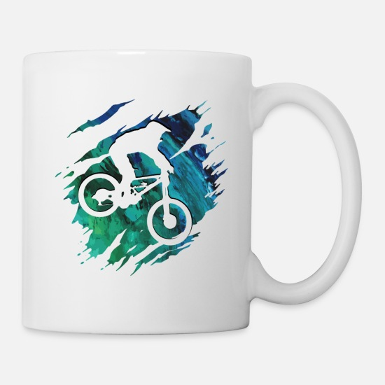 Downhill Mugs & Drinkware - Mountain Bike - Mountainbiker Downhill Gift - Mug white