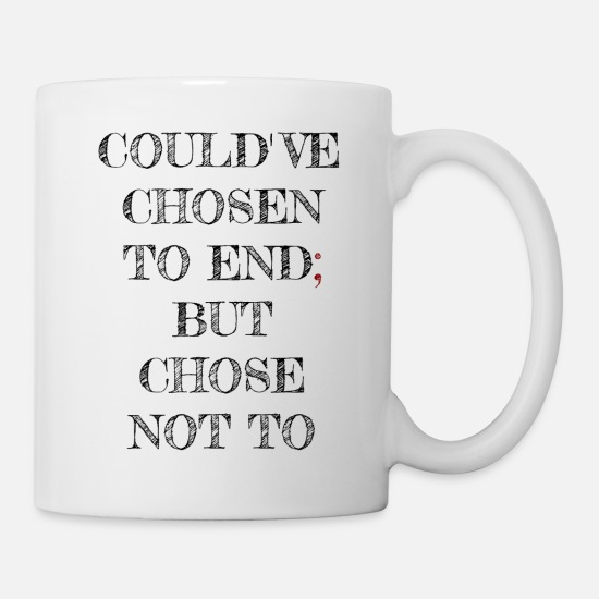 Borderline Mugs & Drinkware - semicolon gift does not give up depression - Mug white