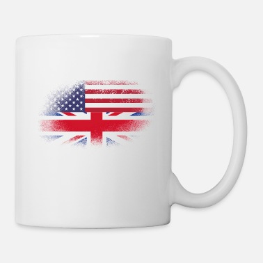 Leicester Distressed Half America Half UK Flag Mix - Mug