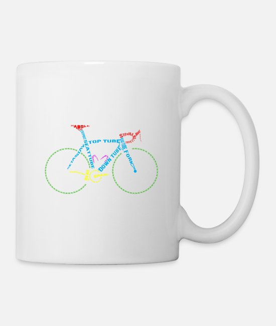 Cycling Mugs & Drinkware - Bicycle anatomy for bike and cycling lovers - Mug white