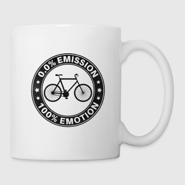 0% Emission 100% Emotion Funny Bicycle Shirt - Mug blanc