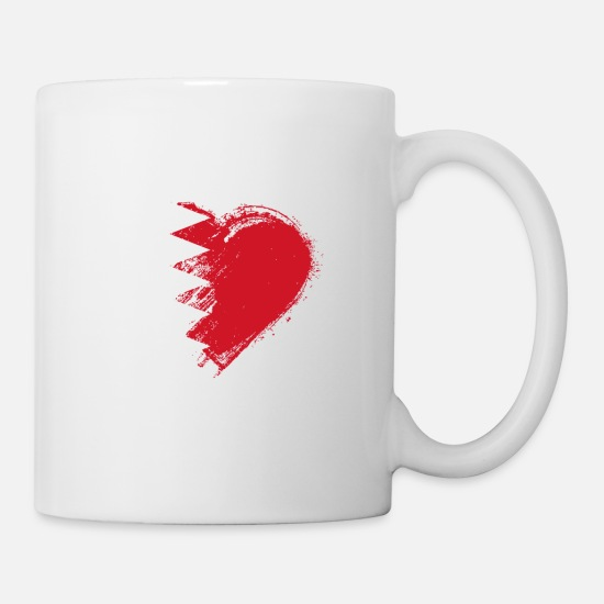 Love Mugs & Drinkware - Grungy I Love Bahrain Heart Flag - Mug white