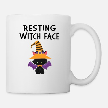 Dolcetto O Scherzetto Resting WItch Face Halloween Cat Design - Tazza