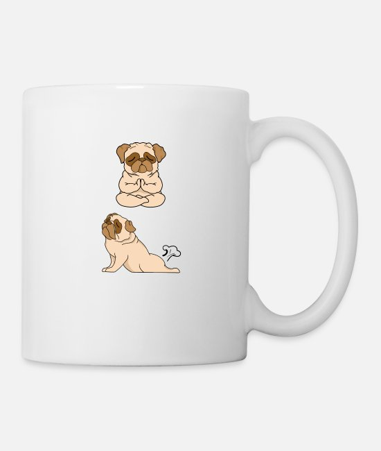 Dog Mother Mugs & Drinkware - French Bulldog INHALE EXHALE Yoga - Mug white