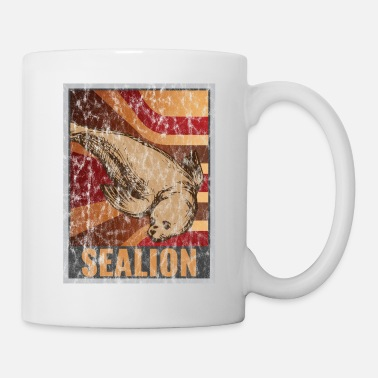 Marine Retro seals poster distressed look - Mug
