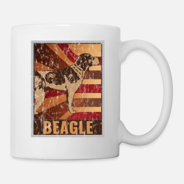Open Retro Beagle poster Distressed Look - Mug