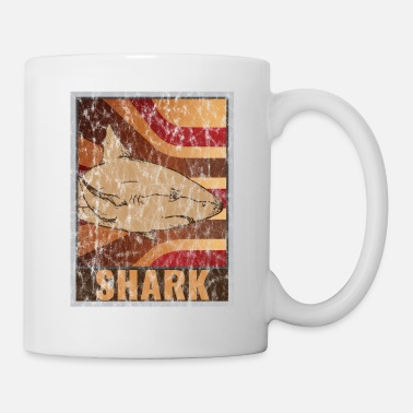 Under Water Retro Shark Poster Distressed Look - Mug