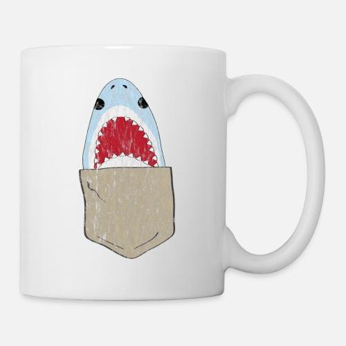 6a86f5888 Funny shark in breast pocket used look Mug | Spreadshirt
