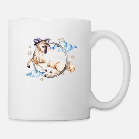 Birthday Mugs & Drinkware - aries watercolor Aries zodiac horoscope - Mug white