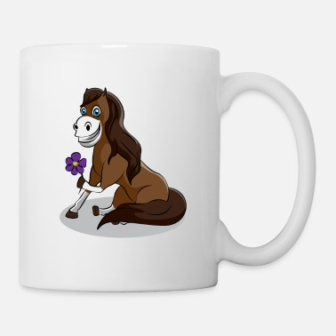 Western Riding Happy horse with flower Lily gift horses - Mug