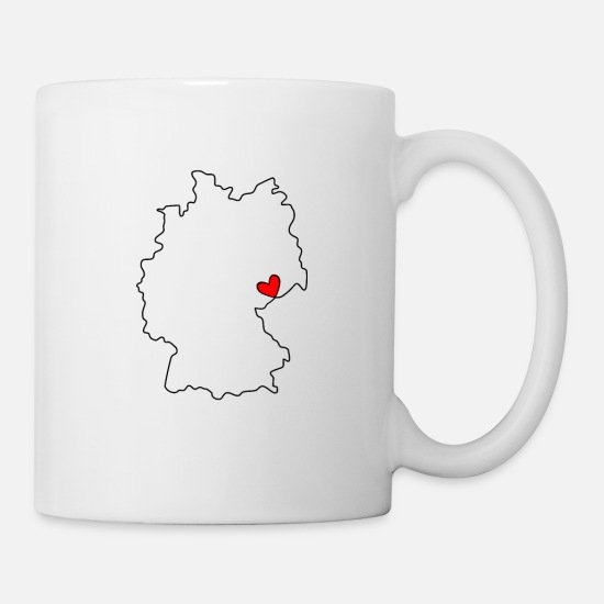 Memory Mugs & Drinkware - GERMANY - with HEART - outline - Mug white