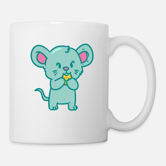 Gift Idea Mugs & Drinkware - Little cute mouse with cheese - Mug white