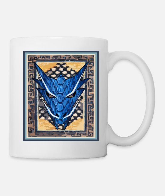 Blue White Mugs & Drinkware - dragon with tapis - Mug white