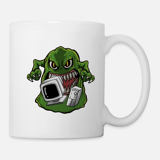 Technologie Mugs et récipients - Ordinateur monstre pc internet - Mug blanc