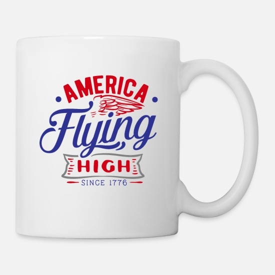 American Eagle Mugs et récipients - America Flying High 4 juillet - Mug blanc