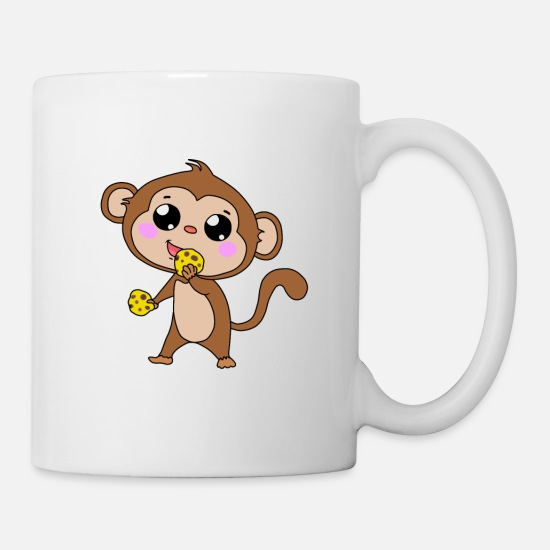 Monkeys Mugs & Drinkware - Monkey monkey with biscuit animals children baby - Mug white