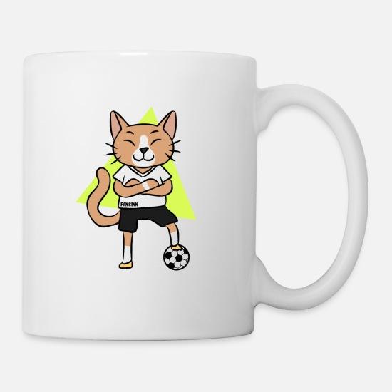 Katze Fussball Sport Cartoon Comic Kinder Geschenk Tasse Weiss