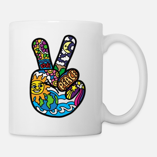 Love Mugs & Drinkware - Peace Sign Peace and Peace Hemp sign - Mug white