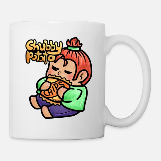 Bless You Mugs & Drinkware - fat fat chubby overweight child chips gift - Mug white