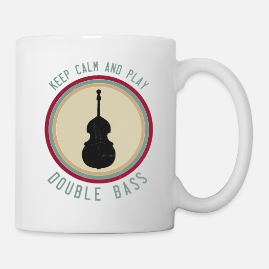 Rockabilly Tazas y accesorios - Contrabass Player Keep Calm Jazz Saying Joke - Taza blanco