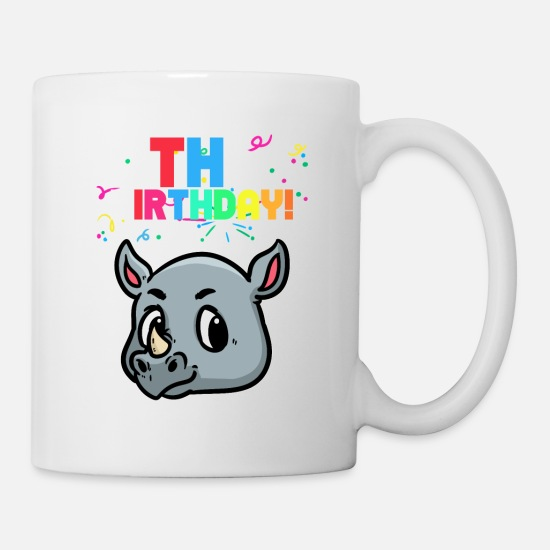 Rhinoceros Mugs & Drinkware - 2 birthday rhinoceros for kids that will become two - Mug white