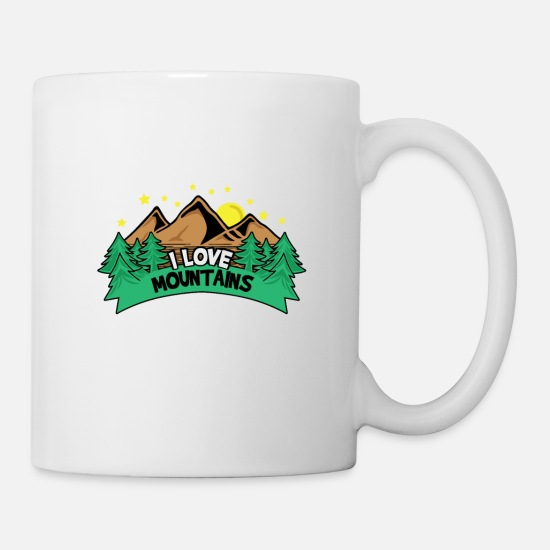 Klettern Tassen & Becher - I Love Mountains Logo - Tasse Weiß