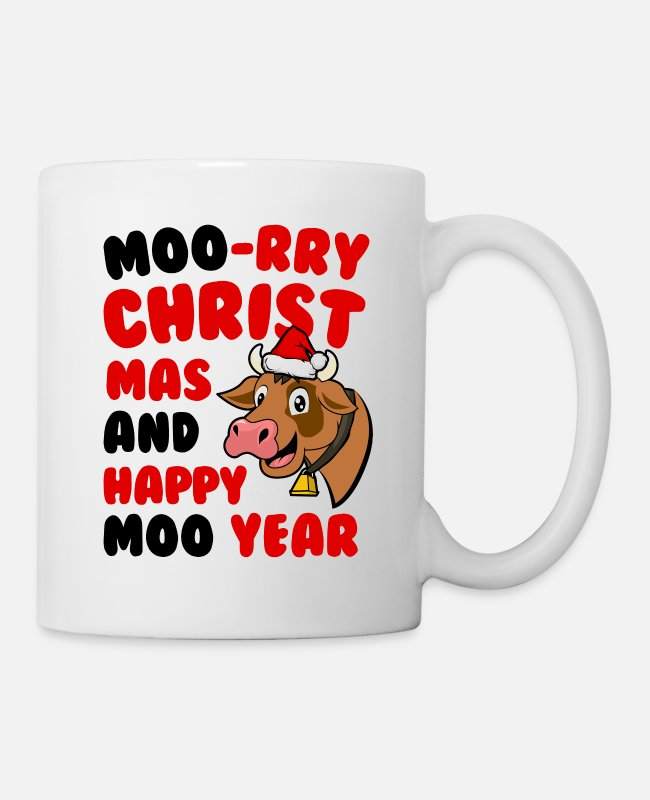Red Mugs & Drinkware - A sweet cow wishes us a Merry Christmas - Mug white