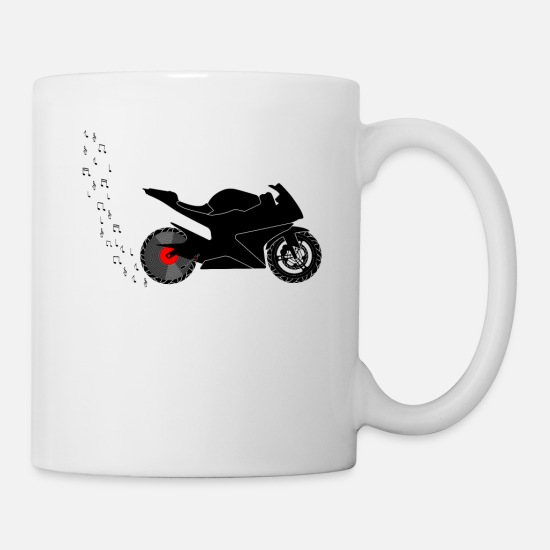 Turn Tables Mugs & Drinkware - Motorcycle racing machine vinyl record player - Mug white