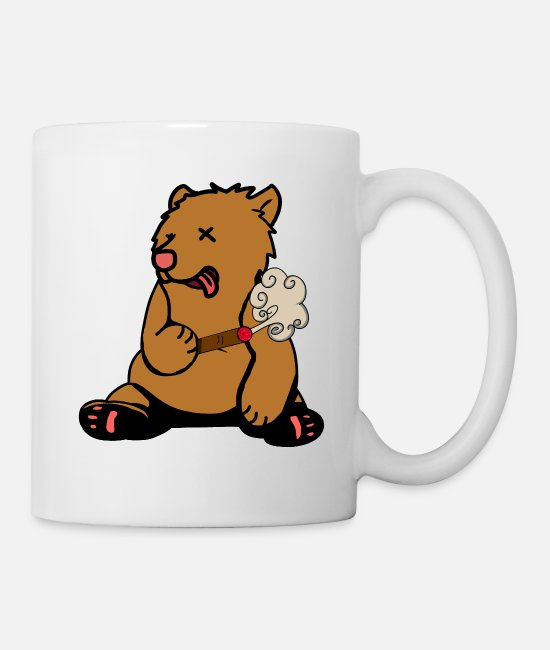 Consumption Mugs & Drinkware - Bear smoker nicotine grass smoker cigar smoke - Mug white