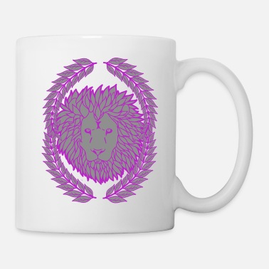 Leo Wild lion big cat fantasy wildlife laurel wreath - Mug