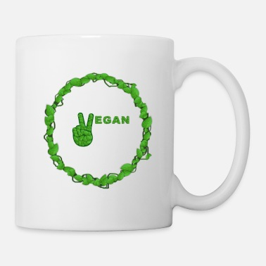 Healthy Vegan Peace Inside Ring Of Leaves - Mug